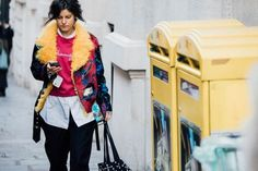 Colored shearling. Paris Fashion Week, FW 2017. British Vogue