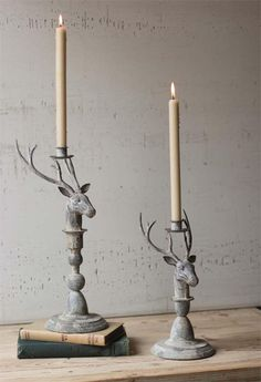 Rustic Metal Deer Candle Holders