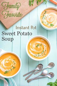 "A delicious, beautifully balanced Instant Pot Sweet Potato Soup! A family treasure - now healthier and easier but still ""PERFECT""! Kitchen Recipes, Soup Recipes, Vegetarian Recipes, Healthy Recipes, Healthy Chili, Free Recipes, Easy Meal Prep, Easy Meals, Healthy Thanksgiving Recipes"