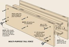 Table Saw Tricks For Making Vertical Cuts: Using the table saw to shape the edges of a workpiece is a snap with a couple of easy-to build accessories and simple techniques. Woodworking Jig Plans, Woodworking Table Saw, Woodworking Basics, Woodworking Workshop, Woodworking Techniques, Table Saw Jigs, Diy Table Saw, Table Saw Workbench, Table Saw Accessories