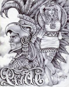 Aztec Pride by Mouse Lopez Lowbrow Artwork Canvas Art Print – moodswingsonthenet