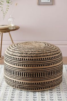 Designed with global inspiration, this pouffe is made from natural and black jute. Complementing the Glam Global and Terrain trend perfectly. Sponge clean only. Rattan Furniture, Garden Furniture, Knitted Pouffe, Natural Cushions, Curtain Poles, Curtains With Blinds, Inspired Homes, Neutral Colors, Jute