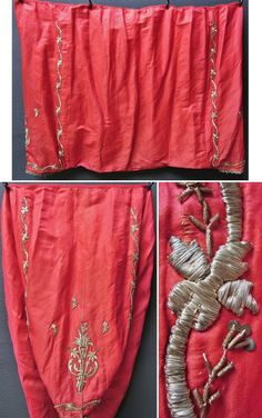 An embroidered 'şalvar' (baggy trousers) for women, from the central district of the Sakarya (Adapazarı) province.  Part of the traditional bridal/festive ensemble, together with a matching long-sleeved vest.  Made ca. 1950.  Front and rear of the şalvar are identical; adorned with silver thread embroidery on silk ('Maraş işi'-technique), minuscule silvery spirals and small metal sequins.  (Inv.n° $al024 -  Kavak Costume Collection - Antwerpen/Belgium).
