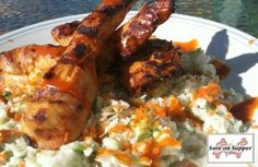 Grilled Buffalo Chicken with Blue Cheese Slaw