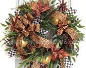 Spectacular Christmas Wreaths Poinsettia Pine Whimsical Door Wreath Cheetah Bronze Gold