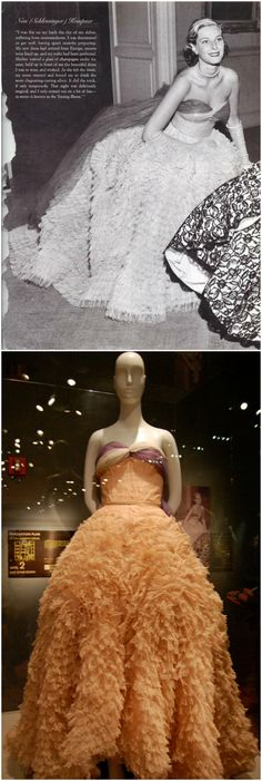 Ball gown, by Jacques Griffe, 1949, owned by the Metropolitan Museum of Art. Silk, nylon, rayon. Worn by Nan Kempner on the occasion of her debut. Photos (Top): Metropolitan Museum of Art; (Bottom): Natalie Zee Drieu (nataliezdrieu) on Flickr.