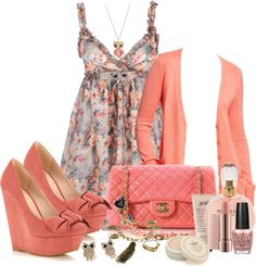 Omg love the color wedges bag. Dress. Just love it all.