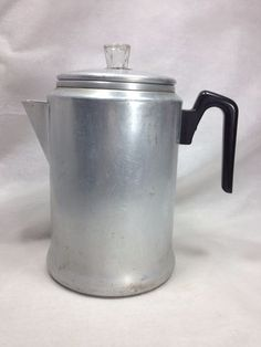 Vintage aluminum coffee percolator pot stovetop or camping coffee