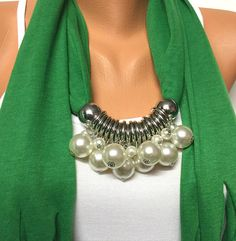 This item is unavailable - green pearl jewelry scarf with beads Christmas gift por BienBijou - Scarf Necklace, Scarf Jewelry, Fabric Jewelry, Diy Necklace, Pearl Necklace Wedding, Jewelry Drawing, Swarovski Pearls, Turquoise Jewelry, Beads