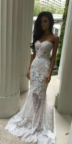 Long White Lace Appliques Prom Dress,Mermaid Style Sweetheart Wedding Dress for Woman,Elegant Sheer Skirt Formal Dress