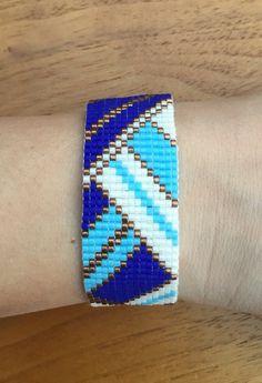 Miyuki delica beads Cuff Bracelet woven geometric pattern / bracelet peyote…