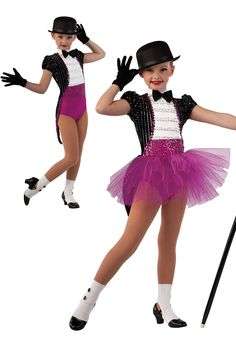 15144 Broadway Baby (2 in 1) | Kids Showcase / First Performance / Dance Costumes / Recital Wear | Dansco 2015 | Sequined black velvet, solid white and fuchsia spandex leotard with sequined ruffle white mesh overlay and fuchsia sequin on spandex insert. Attached matching tails. Separate fuchsia tulle tutu. Black satin bow on pin and fuchsia/black sequin braid trim. Headpiece and socks included.