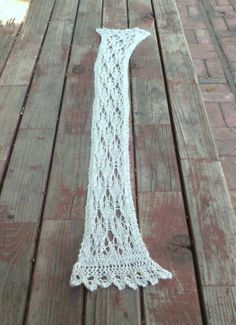 Soft Skinny Knit Lace Scarf in mink, cashmere, wool, and viscose blend yarn by EccentricHats on Etsy