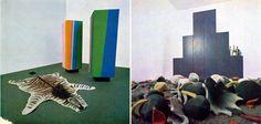 A sinistra: mobile Toblerone. A destra: mobile Vestiti nell'orto. Domus n. 449, 1967