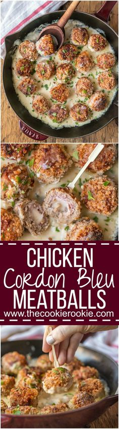 CHICKEN CORDON BLEU MEATBALLS are the most amazing holiday appetizer ever! Chicken meatballs stuffed with swiss and ham, and cooked in a white wine dijon sauce. I could eat these Cordon Bleu Chicken Meatballs for every meal! Turkey Recipes, Meat Recipes, Appetizer Recipes, Chicken Recipes, Dinner Recipes, Cooking Recipes, Healthy Recipes, Appetizers, Chicken Meals