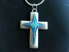 Silver cross with turquoise and blue accents by AccentsbySamantha, $15.00