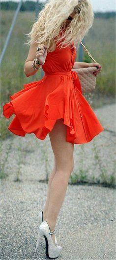 Red Vaporous Button-up Dress