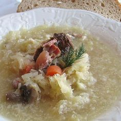 This recipe for Ukrainian sauerkraut soup or kapusnyak uses smoked or fresh pork spareribs as its flavor base and sauerkraut and other vegetables. Sauerkraut Soup Recipe, Ukrainian Recipes, Russian Recipes, Ukrainian Food, Russian Foods, Croatian Recipes, Hungarian Recipes, Soup Recipes, Planks