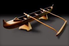 Pacific outrigger canoe. Model, wood
