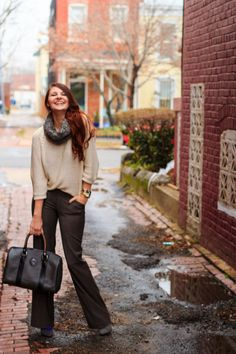 cozy office work wear look in LOFT snood, HM loose knit sweater, marc by marc acobs gold watch, Forever 21 bracelet for color, Ann Taylor pants, and vintage luggage bag! on Que Sera Sahra