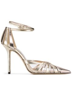 82a28e65ac JIMMY CHOO TRAVIS 100 GOLD MIX METALLIC NAPPA LEATHER STRAPPY PUMP WITH A POINTED  TOE. #jimmychoo #shoes