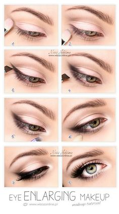 Eye Enlarging makeup- simply put smudged eyeliner or shadow in the outer corner of eyes. Then, apply white eyeliner in your waterline. Lastly, put white eyeshadow or hilighter in the inner corner of your eyes. Pretty Makeup, Love Makeup, Gorgeous Makeup, Simple Makeup, Perfect Makeup, Makeup For Glasses, Makeup For Black Dress, Easy Makeup Looks, Basic Eye Makeup
