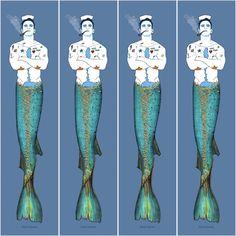 Mental Health Art, Big Fish, Gay Art, Acrylics, Mermaids, Paper, Illustration, People, Tatuajes