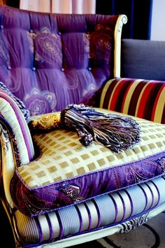 Purple fabulous chair!! <3 <3 <3  !! Custom Furniture Reinvented From Vintage Pieces by Jane Hall, via Behance, boho