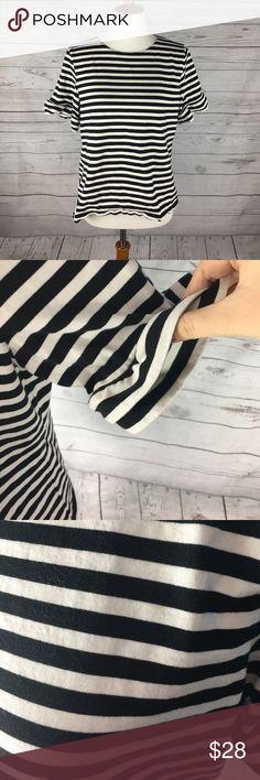 J. Crew Ruffle Sleeve Striped Shirt | Like New Condition | black & white stripes | layered Ruffle sleeves | 100% Cotton | J. Crew Tops Tees - Short Sleeve