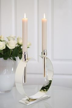 Modern and sleek, these silver plated candleholders are a dramatic way to set a table or to place on a credenza as decor Candle Stand, Candle Holders, Home Nyc, White Candles, Elegant Homes, Art Of Living, Home Accents, Candle Sconces, Decorative Accessories