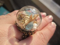 Beach in a Bubble Filigree Ring  Real Sand by WhimsyByKrista, $18.00
