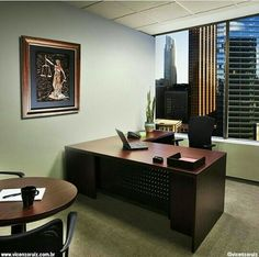 Escritório Law Office Decor, Small Office Design, Office Table, Office Furniture Design, Office Interior Design, Furniture Layout, Store Interiors, Office Interiors, Lawyer Office