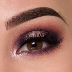 """Purple halo eyes Products used: ▫@makeuprevolution Fortune Favors The Brave palette (shades: peachy,winning,New world,ice cold) ▫@eyerisbeauty lashes in the style EMPRESS @wakeupandmakeup ▫@sigmabeauty brow pencil in """"top-shelf"""" (Use discount code """"denitslava"""" for 10% off the price for ALL @sigmabeauty products)"""