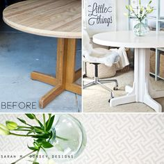 sarah m. dorsey designs: Roadside Rescue + Painting Laminate + Adding Crown Molding to Table Base