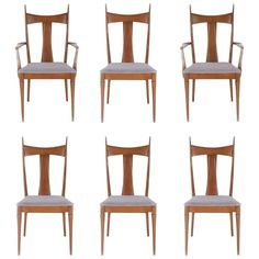 Mid-Century Modern Walnut Dining Chairs after Paul McCobb or Gio Ponti | From a unique collection of antique and modern dining-room-chairs at https://www.1stdibs.com/furniture/seating/dining-room-chairs/