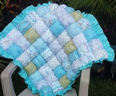 Aqua and Sage Bubble Quilt / Biscuit Quilt / Puff Quilt / Bubble Blanket by CandyUnraveled on Etsy