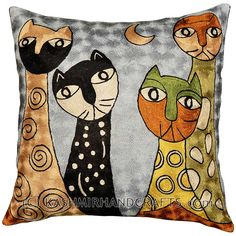 Four-Cats-pillow-cover-picasso-modern-cushion-abstract-hand-embroidered-couch-pillows-sofa-cushions
