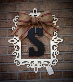 Laser Cut Frame with Monogram and Burlap by DragonflyzDesign, $55.00