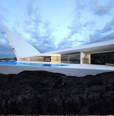 Domiciles. Concept for futuristic house based on juxtaposition of nature and man-made structure. Architect: Roman Vlasov.