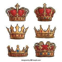 Hand-drawn selection of luxury crowns Free Vector Crown Aesthetic, Aesthetic Drawing, King Crown Drawing, Coroa Tattoo, Crown Art, Diamond Tattoos, Tattoo Signs, Kings Crown, Lion Tattoo