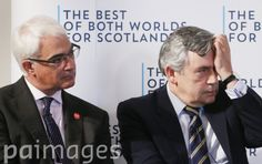 Alistair Darling and Gordon Brown during a Better Together Scottish referendum event at Marryat Hall in Dundee, Scotland.
