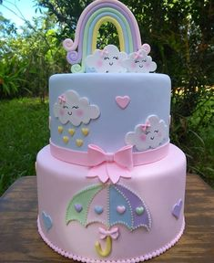 1st Birthday Cake For Girls, Cute Birthday Cakes, Beautiful Birthday Cakes, Rainbow Birthday, Baby Shower Pasta, Baby Shower Cakes, Rain Cake, Baby Girl Cakes, Cute Cakes