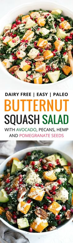 Roasted Butternut Salad with kale, avocado, pecans & pomegranate. A healthy, gluten free recipe filled with fall flavors. Easy, filling and perfect for make ahead lunches and dinners! Recipe at themovementmenu.com via @themovementmenu