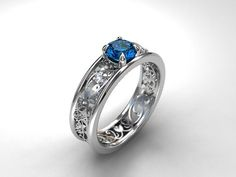 Royal Filigree Ring With London Blue Topaz
