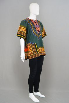 Vintage 70s Hippy Mens Dashiki West African Shirt by ZeusVintage