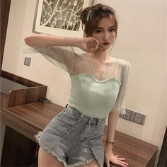Autumn Women''s V-Neck Mesh Stitching Knitted T-Shirt Solid Sexy Slim Short Puff Sleeve Ruffles Shirt Tops Ruffle Shirt, Cheap T Shirts, Girly Outfits, Knitwear, Latest Trends, V Neck, Slim, Clothes For Women, Stylish
