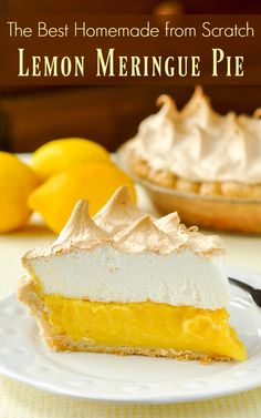 Homemade Lemon Meringue Pie - If your pie comes from powder in a box, STOP! A fantastic homemade lemon meringue pie, completely from scratch, is better actually just as easy to prepare Lemon Desserts, Köstliche Desserts, Lemon Recipes, Pie Recipes, Delicious Desserts, Dessert Recipes, Lemond Curd, Rock Recipes, Pie Dessert