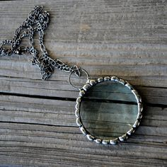Handmade Magnifier Jewelry by BayouGlassArts, Long Chain Necklace for Women or Men, Real Magnifying Glass Lens, Hand Formed Metal Work  Peridot Necklace, Sea Glass Necklace, Long Pendant Necklace, Glass Jewelry, Jewelry Gifts, Long Necklaces, Magnifying Glass Pendants, Laser Engraved Gifts, Gifts For Women