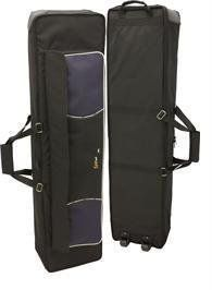 Tom and Will 87KB50 Traveller Keyboard Gig Bag Case by Tom and Will. $152.00. tomandwill Traveller keyboard gig bag - 135x30x16cm with wheels & 20mm padding black with navy trim with grey and navy piping  20mm padding sheet music and accessory pocket running full length of case extra strong set of wheels attached to base of case, ergonomically shaped padded rucksack style shoulder straps gripEZE padded handle, rubberised anti-scuff patch, heavy duty zip fasteners NB...