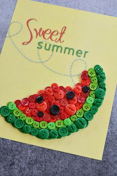 Easy Watermelon Button Craft & Free Printable